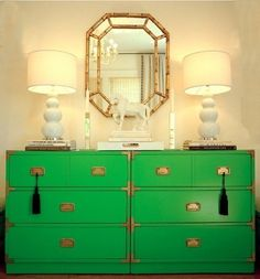 I found a campaign dresser for the nursery on Craigslist - fingers crossed that it's not gone already. This is my inspiration: Vanessa De Vargas kelly green campaign dresser from Lonny Dec Campaign Dresser, Campaign Furniture, Campaign Desk, Painted Furniture, Diy Furniture, Green Furniture, Painted Dressers, Furniture Stores, Regency Furniture
