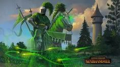 Total War: Warhammer, Bretonnia DLC illustration of an in-game event The Green Knight Warhammer Fantasy, Warhammer Art, Fantasy Battle, Fantasy Warrior, Fantasy Art, Man Or Monster, Deadliest Warrior, Green Knight, The Valiant