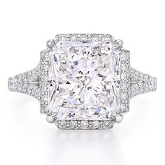 Radiant cut diamond ring in platinum by Kwiat.