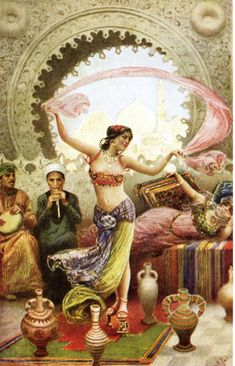 Dancer in harem (Orientalist painting). Her costume is somewhat manufactured, though not totally invented---she seems to be missing her chemise, among other things. Artist painted her in high pattens worn by ladies to travel in streets or in bathhouses, not indoor shoes normally; unless possibly she danced in them to show off her balance?: