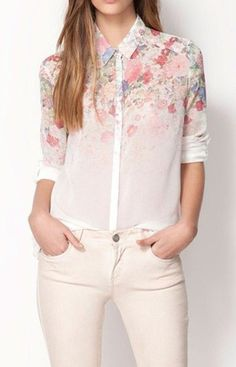 Specifications: Decoration:Button Clothing Length:Regular Pattern Type:Floral Sleeve Style:Regular Fabric Type:Chiffon-Transparent Material:Polyester Collar:Turn-down Collar Sleeve Length:Full Size Bu
