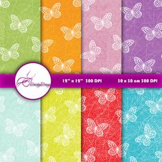 Butterfly Digital Paper Download Digital by DoortjeDesign on Etsy