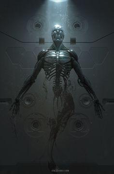 "Terminator: - rhubarbes: ""ArtStation - Cyborg Birth, by Ian Llanas "" Dark Fantasy, Fantasy Art, Science Fiction, Cyberpunk Kunst, Space Opera, Arte Robot, Robot Concept Art, Ex Machina, Sci Fi Characters"