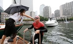 "Martin Strel, Nina Strel<br>Martin Strel is greeted by his daughter Nina after completing his ""Clean Water Swim"" from the Statue of Liberty to Manhattan's North Cove Marina, operated by Island Global Yachting, on Thursday, Sept. 10, 2015, in New York, N.Y. On March 22nd, 2016, World Water Day, Strel will commence his ""Strel World Swim"" through 107 countries in approximately 450 days as a means of spreading clean water awareness. (Photo by Stuart Ramson/Invision for Martin Strel/AP Images)"