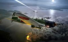 Nakajima 'Kate' torpedo/level bomber in action against Soviet invasion forces over Shimushu Island, August Painting by Ron Cole. Ww2 Aircraft, Fighter Aircraft, Military Aircraft, Fighter Jets, Luftwaffe, War Thunder, Aircraft Painting, Airplane Art, Ww2 Planes