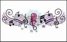 """Music Temporaray Tattoo by Tattoo Fun. $3.95. This is a colorful lower back Temporary tattoo of a pink microphone with rhinestones and hearts in the middle of a line of musical lines and notes with colorful stars surrounding it. It measures approx 1 1/2"""" long x 4"""" wide."""