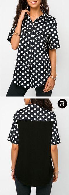 4844f7723ad Turndown Collar Polka Dot Print Asymmetric Blouse. Polka Dot Print