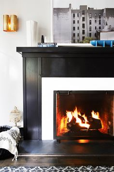 34 best black fireplace surround images fire places log burner rh pinterest com