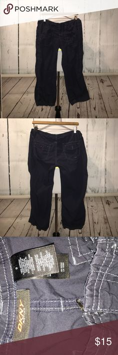Women's Capri cargo pants Women's Capri cargo pants from DKNY active. Size 8. In good condition with the exception of a broken clasp hook. It can easily be seen back on as the one side is still attached. (Can be seen in the last photo) DKNY Pants Capris