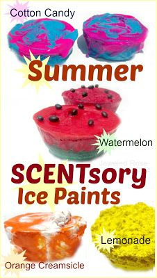 Summer SCENTED ice paints with added texture, too! The watermelon was the favorite! This is a fun way for kids to create art while having fun and staying cool on a hot day.