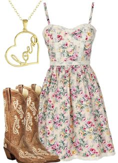 Country Girl Style - Flower Dress #countrygirl #countryoutfit #countryfashion For more Cute n' Country visit: www.cutencountry.com and www.facebook.com/cuteandcountry
