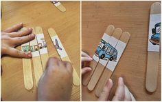 Craft stick learning puzzle activity - wooden stick- Preschool Kids