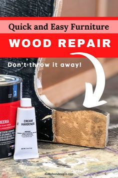 Too many times I've passed up project pieces because of wood furniture repair issues. Damaged veneer and missing wood. Furniture repairs don't have to costly or time-consuming. I had great results with this method!   #dododsondesigns #furniturerepair #diywoodprojects #diywoodwork #woodfiller