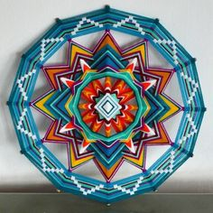 Diamond Sky Meherabad, an 18 inch Ojos de Dios mandala, by Jay Mohler Mandala Art, Crochet Mandala, Mandala Design, God's Eye Craft, Arte Linear, Fun Crafts, Arts And Crafts, Gods Eye, Circle Art
