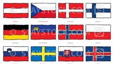 Hand Drawn Flags Central Europe