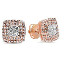 Details about  /.5ct Round Solitaire Stud Simulated Turquoise Earrings 14k Rose Pink Gold
