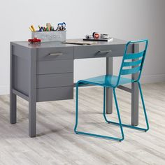 Shop Uptown Modern Kids' Desk (Grey).  The Uptown Desk in grey features clean, crisp lines for a modern look in four easy-to-coordinate finishes.  Shop kids' desks today.