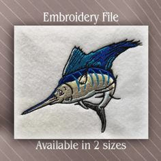 Sail Fish Embroidery File deign available in 2 sizes for machine embroidery.