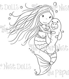 "The Paper Nest Dolls """"Mermaid With Manatee"""" Rubber Stamp"