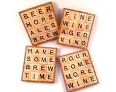 Enjoy a set of 4 drink-inspired scrabble coasters! These coasters are made from an assortment of upcycled repurposed scrabble tiles. Scrabble Letter Crafts, Scrabble Coasters, Scrabble Ornaments, Scrabble Art, Scrabble Letters, Beer Coasters, Scrabble Tiles, Coaster Crafts, Crafts To Make And Sell