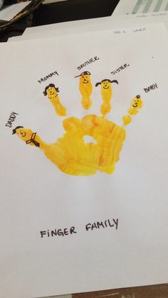 Finger Family craft esl Family Art Projects, Preschool Art Projects, Toddler Art Projects, Daycare Crafts, Family Crafts, Preschool Crafts, Art Activities For Kids, Preschool Learning Activities, Preschool Lessons
