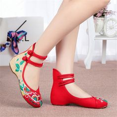 Beijing shoes new authentic ethnic style / women spell color strap embroidered shoes increased slope  shoes inside