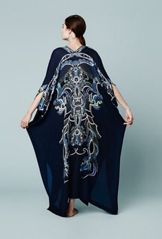 Meng AW14 luxury loungewear - Zodiac print silk satin kaftan - blue