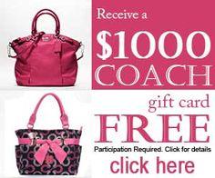 Free $1000 Coach Gift Card http://samplestuffbymail.com/1000-coach-gift-card/