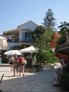 Fiskardo colorful buildings Kefalonia Greece