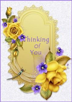 Thinking of You Yellow Roses on Craftsuprint designed by Carol James - A beautiful card created to let someone know that you are thinking of them.Graphics used on this card are by Moonbeam1212 - Now available for download!