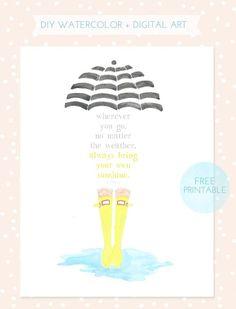 DIY watercolor & digital art print for Spring- FREE printable!