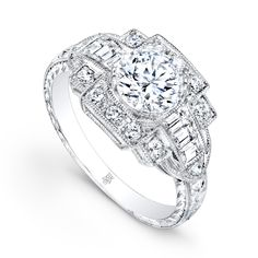 See this white gold vintage-inspired engagement ring at Mark Jewellers and http://www.beverleyk.com