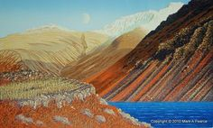 Moon Rising Over Wastwater by Mark Pearce - Vermilion Art Gallery Lake Painting, Artist Painting, Moon Rise, Linocut Prints, Lake District, Paintings For Sale, Abstract Landscape, Printmaking, Modern Art