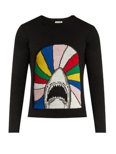 SAINT LAURENT Shark-Jacquard Wool Sweater. #saintlaurent #cloth #sweater