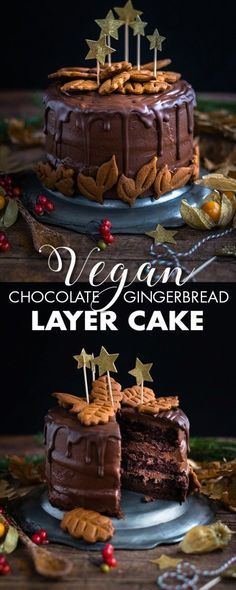 This vegan chocolate gingerbread layer cake is perfect for the holidays and a spectacular celebration cake any time of the year. #vegancake #chocolatecake #layercake #christmasbaking #gingerbread #veganb
