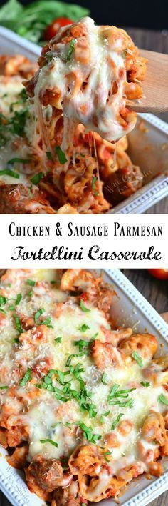 Chicken and Sausage Parmesan Tortellini Casserole. Delicious, gooey, CHEESY casserole dish made with chicken and sausage, tortellini pasta, and FOUR kinds of cheese.