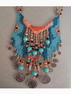 Emine Takı Tasarım I am a retired teacher. Jewelry design, wood painting, embroidery, felt etc. for about 10 years. Fiber Art Jewelry, Ethnic Jewelry, Bohemian Jewelry, Jewelry Art, Jewelry Design, Fabric Necklace, Fabric Jewelry, Collar Tribal, Pin Weaving