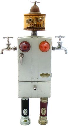 "Name: Hermaphrobot  D.O.B.: 9/20/08  Height: 28""--hangs on wall  Principal Components: Toy tin refrigerator, coffee tin, faucets, flashlights, harmonica, car dash lights, beehive tail-light lenses, working battery-operated light"