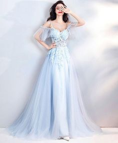 Light blue lace tulle long prom dress evening gown  eveningdresses  dress   prom   6fc624b801d1