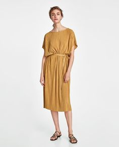 2fa1b17e46 ZARA - WOMAN - PLEATED TUNIC WITH BELT Zara Outfit