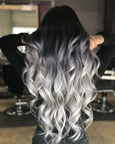 Black to Grey to Silver Ombre Hair me for Cute Silver Inspiration!Black to Grey to Silver Ombre Hair Black to Grey to Silver Ombre Hair me for Cute Silver Inspiration!Black to Grey to Silver Ombre Hair Silver Ombre Hair, Ombre Hair Color, Cool Hair Color, Black To Silver Ombre, Black To Grey Ombre Hair, Black To Blonde Hair, Hair Color Black, Dyed Hair Ombre, Grey Hair With Black Roots