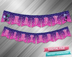 Vampirina Birthday Banner - PrintDParty Selling Birthday Invitation and Printable Party Decoration Digital File. Birthday Letters, Happy Birthday Banners, Printable Birthday Invitations, Party Printables, Birthday Party Decorations Diy, This Or That Questions, Trending Outfits, Peace, Birthday Charts