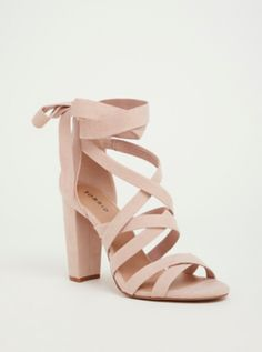 Soft Pink Strappy Lace-Up Heel Sandal in Black/White