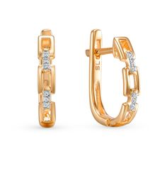 Золотые серьги с бриллиантами SUNLIGHT: розовое золото, бриллиант — купить в интернет-магазине Санлайт, фото, артикул 39673