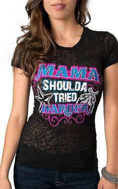 Rebel Rose Womens Black with Pink, Turquoise and White Mama Shoulda Tried Harder Burnout Short Sleeve Tee