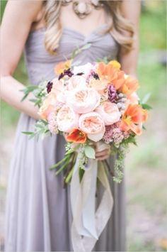 Bouquet Inspiration: Peach And Purple Wedding Inspiration | Photography by Tamara Gruner on Wedding Chicks via Lover.ly