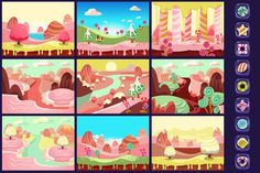 Candy land sweet background for game by TopVectors on @creativemarket