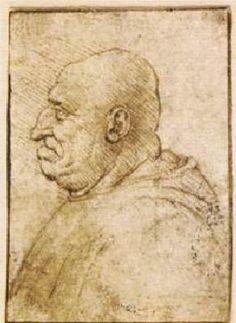 Caricature of a Bald Old Man - Leonardo da Vinci.  1485-90.  Pen and brown ink.  57 x 40 mm.  British Museum, London, UK.