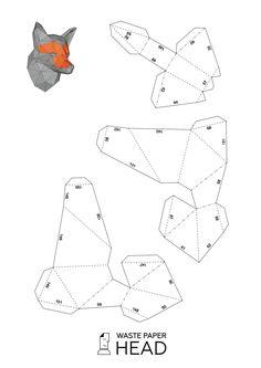 Papercraft fox head printable digital DIY by WastePaperHead