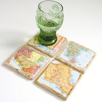 Handmade Vintage Map Coasters.  You Select 4 Locations.